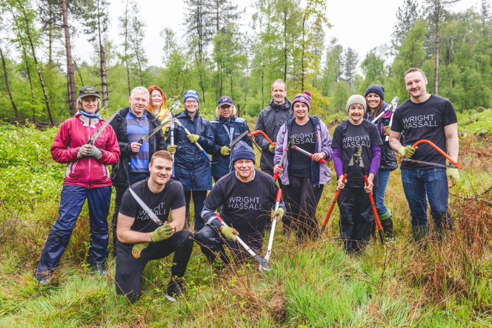 Wright Hassall Lawyers volunteering in the forest